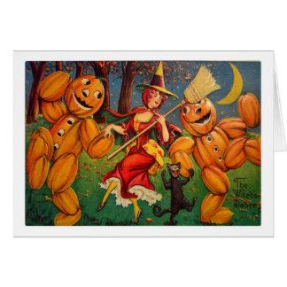 Retro Vintage Kitsch Halloween Dancing Pumpkins Card