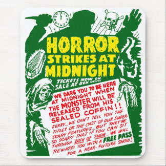 Retro Vintage Kitsch Halloween Horror Show Mouse Pad