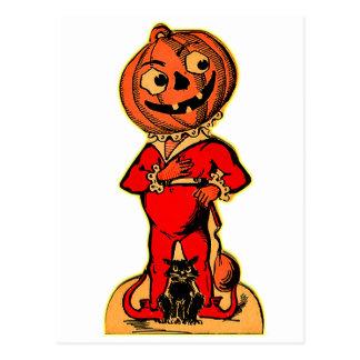 Retro Vintage Kitsch Halloween Jack-o-lantern Postcard