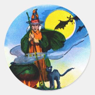 Retro Vintage Kitsch Halloween Witches Brew Classic Round Sticker