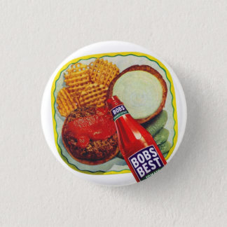 Retro Vintage Kitsch Hamburgers With Ketchup 3 Cm Round Badge