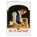 Retro Vintage Kitsch Handyman Woodworker Craftsman Greeting Card