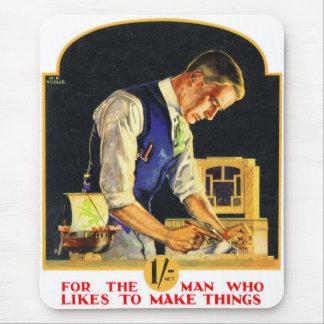 Retro Vintage Kitsch Handyman Woodworker Craftsman Mouse Pad