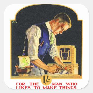 Retro Vintage Kitsch Handyman Woodworker Craftsman Square Sticker