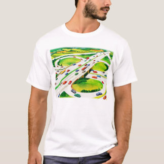 Retro Vintage Kitsch Highway Cloverleaf T-Shirt