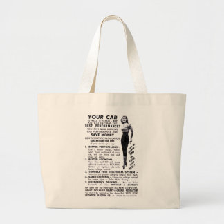 Retro Vintage Kitsch Hot Rod 'Your Car is Stacked' Jumbo Tote Bag