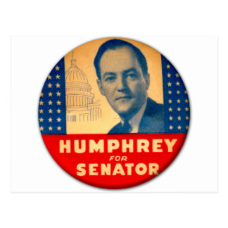 Retro Vintage Kitsch Humphrey For Senate Button Postcard