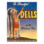 Retro Vintage Kitsch Indian Chief Wisconsin Dells Postcard
