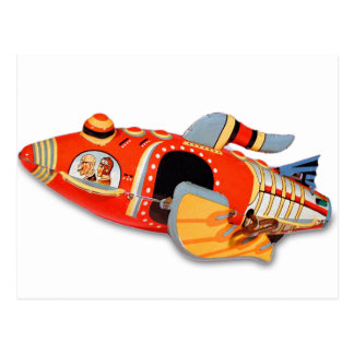 Retro Vintage Kitsch Japan Tin Toy Rocket Ship Postcard