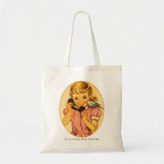 Retro Vintage Kitsch Kids A Little Bird Told Me Budget Tote Bag