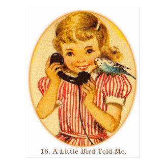 Retro Vintage Kitsch Kids A Little Bird Told Me Postcard