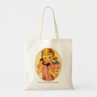 Retro Vintage Kitsch Kids A Little Bird Told Me Canvas Bags