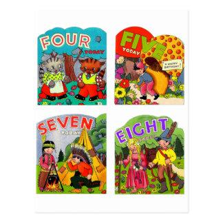 Retro Vintage Kitsch Kids Birthday Cards 4,5,7,8 Postcard