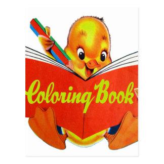 Retro Vintage Kitsch Kids Coloring Book Ducky Postcard