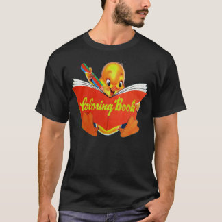 Retro Vintage Kitsch Kids Coloring Book Ducky T-Shirt