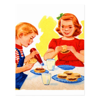 Retro Vintage Kitsch Kids Eating Hamburgers Burger Postcard