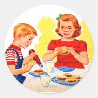 Retro Vintage Kitsch Kids Eating Hamburgers Burger Sticker
