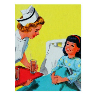 Retro Vintage Kitsch Kids Getting Tonsils Out Postcard