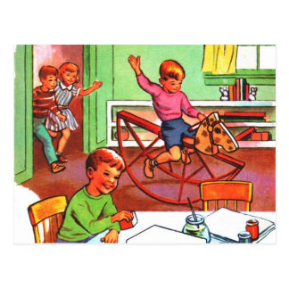 Retro Vintage Kitsch Kids School Book Toys & Games Postcard