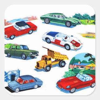 Retro Vintage Kitsch Kids Toy Diecast Cars Square Sticker
