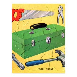 Retro Vintage Kitsch Kids Toy Puzzle Tool Kit Postcard
