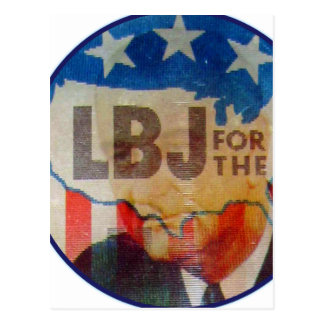 Retro Vintage Kitsch LBJ Flasher Political Button Postcard