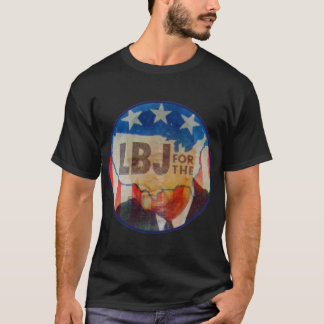 Retro Vintage Kitsch LBJ Flasher Political Button T-Shirt