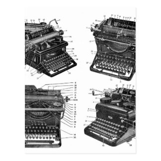 Retro Vintage Kitsch Machines Old Typewriters Postcard