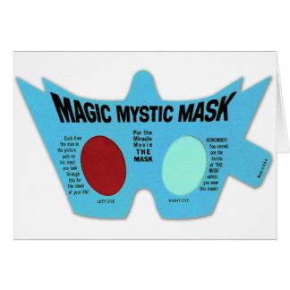 Retro Vintage Kitsch Magic Mystic Mask 3D Glasses Greeting Cards