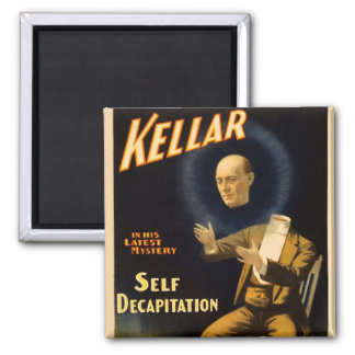 Retro Vintage Kitsch Magic Self Decapitation Square Magnet