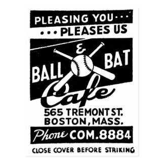 Retro Vintage Kitsch Matchbook Ball & Bat Cafe Postcard