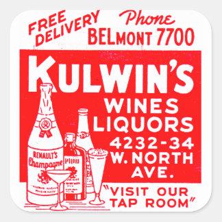 Retro Vintage Kitsch Matchbook Kulwin's Liquors Square Sticker