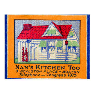 Retro Vintage Kitsch Matchbook Nan's Kitchen Diner Postcard
