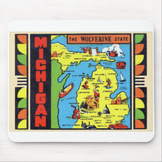 Retro Vintage Kitsch Michigan Wolverine Decal Mouse Pad