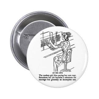 Retro Vintage Kitsch Modern Work Girl Not Complete Buttons