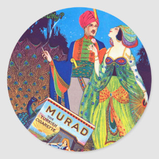 Retro Vintage Kitsch Murad Turkish Cigarettes Ad Classic Round Sticker