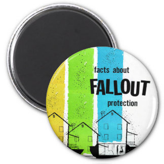 Retro Vintage Kitsch Nukes Facts About Fallout Refrigerator Magnet
