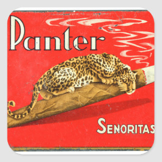 Retro Vintage Kitsch Panther Cigars Dutch Tin Box Square Sticker
