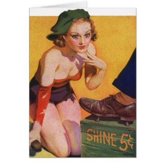 Retro Vintage Kitsch Pin Up 30s Shoe Shine 5¢ Greeting Card
