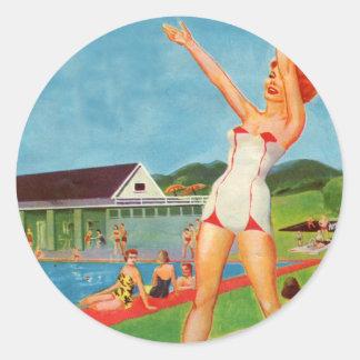 Retro Vintage Kitsch Pin Up Bathing Suit Resort Round Sticker