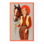 Retro Vintage Kitsch Pin Up Card Cowgirl & Horse Postcard