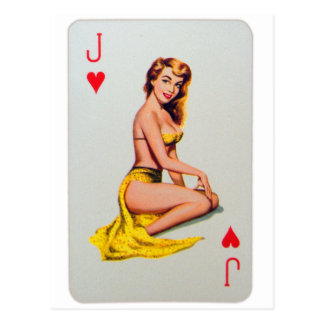 Retro Vintage Kitsch Pin Up Card Joker's Wild Girl