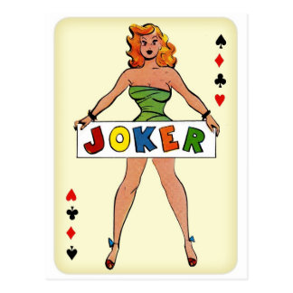 Retro Vintage Kitsch Pin Up Joker Playing Card