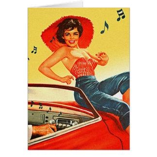 Retro Vintage Kitsch Pin Up Rock N Roll Radio Girl Greeting Card