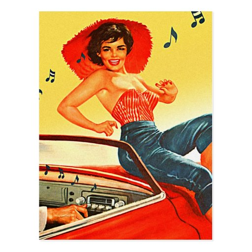 Retro Vintage Kitsch Pin Up Rock N Roll Radio Girl Postcard