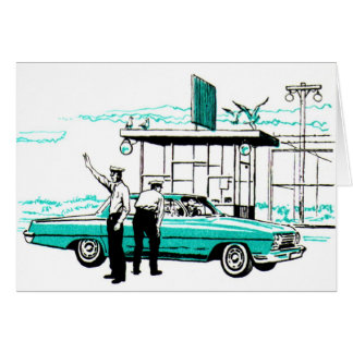 Retro Vintage Kitsch Police 50s Cops Pull Over Card