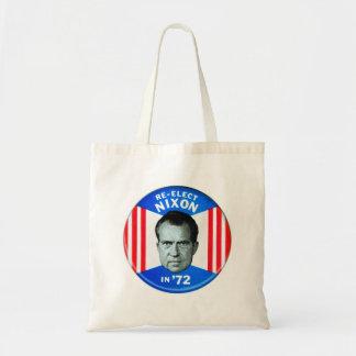 Retro Vintage Kitsch Politics Re-Elect Nixon in 72 Budget Tote Bag