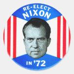 Retro Vintage Kitsch Politics Re-Elect Nixon in 72 Round Stickers
