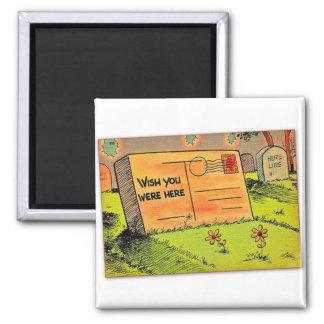 Retro Vintage Kitsch Postcard Wish You Were Here Square Magnet