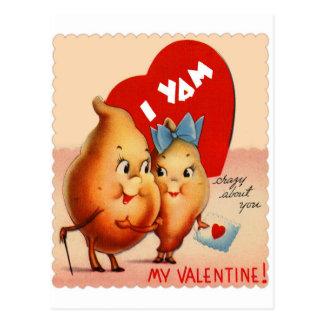 Retro Vintage Kitsch Potato Valentine I Yam Crazy Post Card